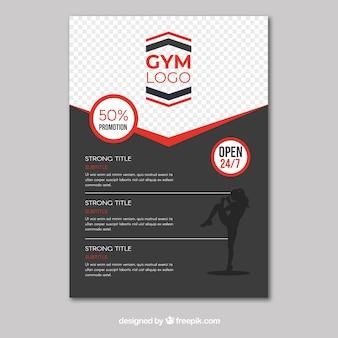 Modèle de flyer de gym avec un design plat