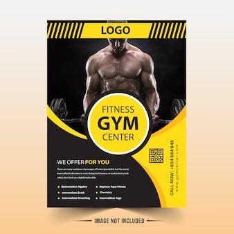 Modèle de flyer de gym jaune et noir