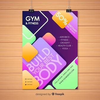 Modèle de flyer de gym moderne avec dessin abstrait