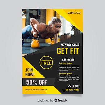 Modèle de flyer de gym avec photo