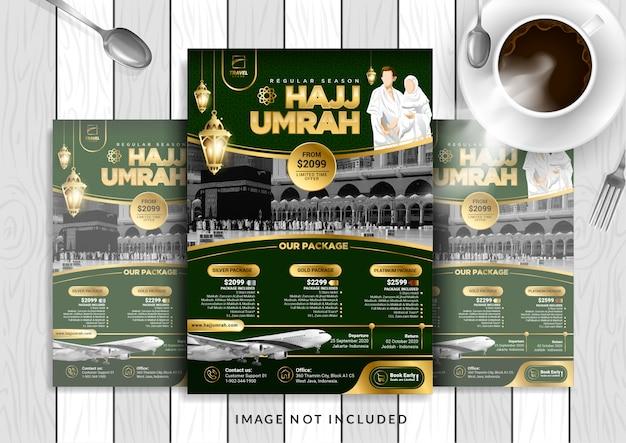 Modèle de flyer hajj & umrah de luxe en or vert au format a4.