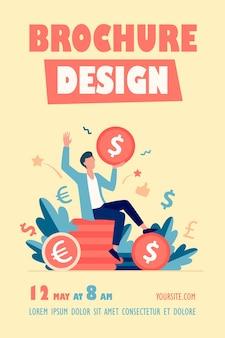Modèle de flyer d'homme d'affaires heureux gagnant de l'argent