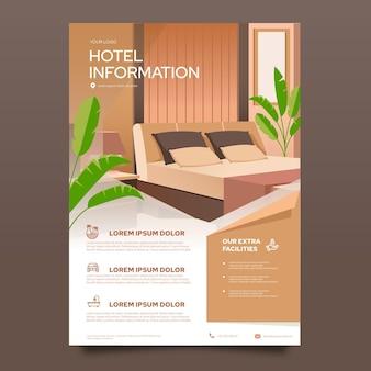 Modèle de flyer hôtel moderne avec illustration