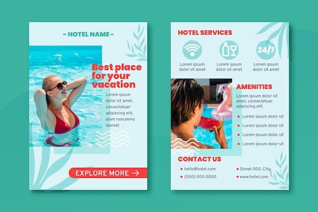 Modèle de flyer d'hôtel moderne avec photo