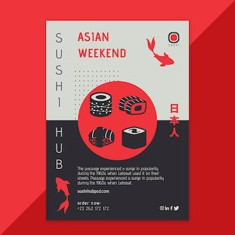 Modèle de flyer de hub de sushi