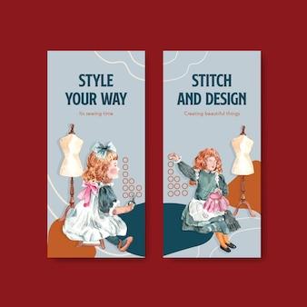 Modèle de flyer avec illustration aquarelle de conception de concept de couture.