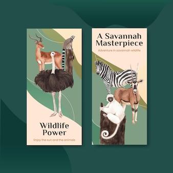 Modèle de flyer avec illustration aquarelle de savane faune concept