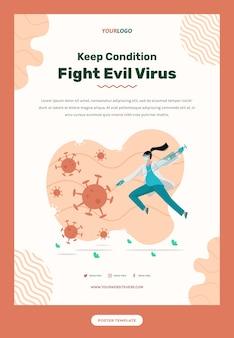 Modèle de flyer avec illustration du médecin combattant le virus avec masque et seringue