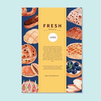 Modèle de flyer d'illustration de pain aquarelle