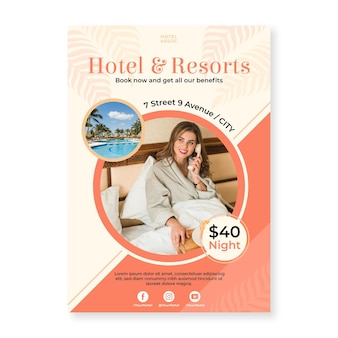 Modèle de flyer d'informations sur l'hôtel avec photo