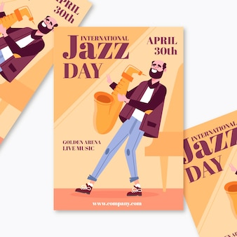 Modèle de flyer de la journée internationale du jazz