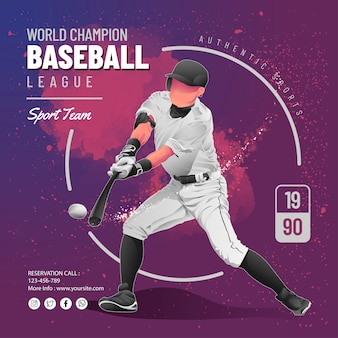 Modèle de flyer de ligue de baseball