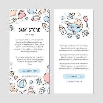 Modèle de flyer de magasin de bébé avec des éléments de doodle de chose bébé, des choses, des jouets, des hochets, des bouteilles de lait, des vêtements. style de croquis de doodle.