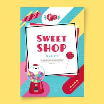 Modèle de flyer de magasin de bonbons avec illustrations