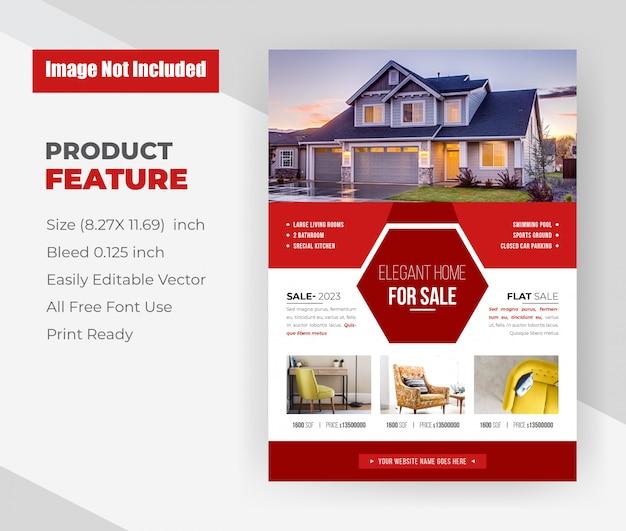 Modèle de flyer de maison élégante à vendre immobilier.