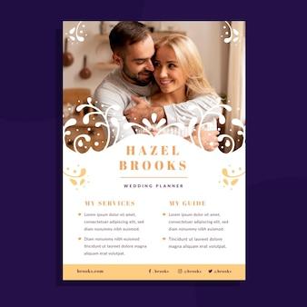Modèle de flyer de mariage avec photo