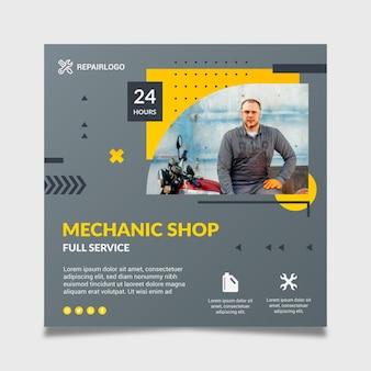 Modèle de flyer de mécanicien avec photo