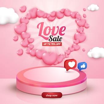 Modèle de flyer de médias sociaux de vente d'amour avec l'amour 3d et le bouton comme les médias sociaux