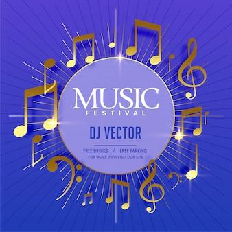 Modèle de flyer musical avec des notes sonores dorées