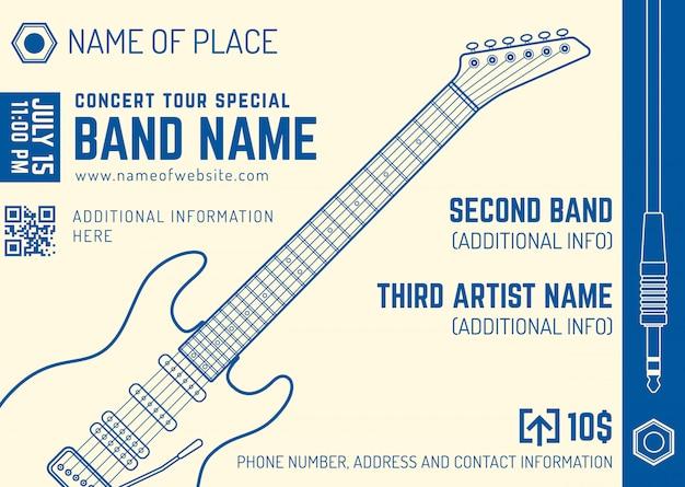 Modèle de flyer de musique rock concert musique electro guitare horizontale