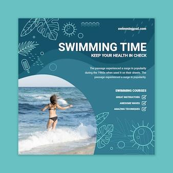 Modèle de flyer de natation avec photo