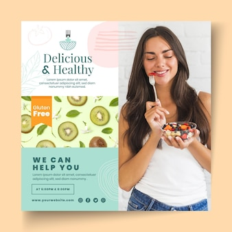 Modèle de flyer de nourriture bio et saine
