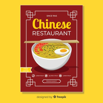 Modèle de flyer nourriture chinoise bol ramen