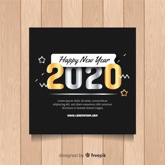 Modèle de flyer de nouvel an avec des étoiles