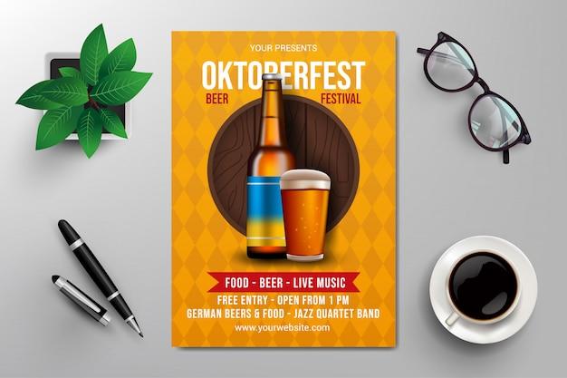 Modèle de flyer oktoberfest beer festival