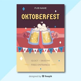 Modèle de flyer oktoberfest dessiné à la main