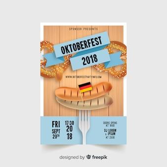 Modèle de flyer oktoberfest moderne avec un design réaliste