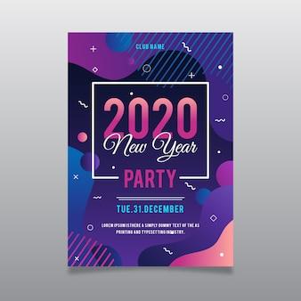 Modèle de flyer parti abstrait coloré nouvel an 2020