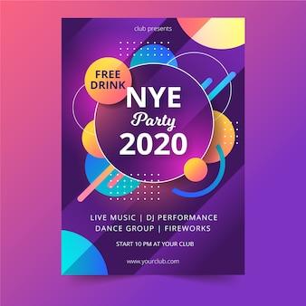 Modèle de flyer de parti abstrait nouvel an 2020