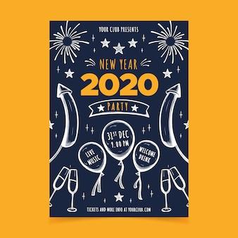 Modèle de flyer parti dessiné main nouvel an