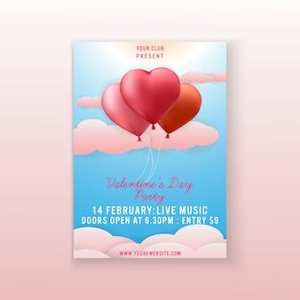 Modèle de flyer party de la saint-valentin