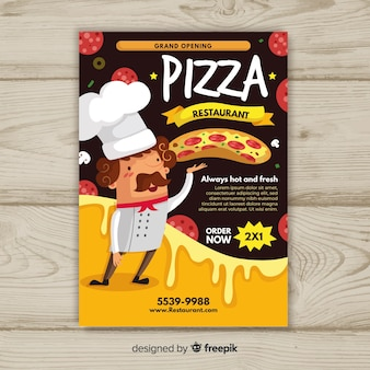 Modèle de flyer pizza cuisinier dessinés à la main
