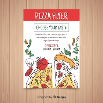 Modèle de flyer pizza dessiné à la main