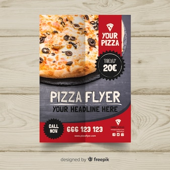Modèle de flyer pizza photographique