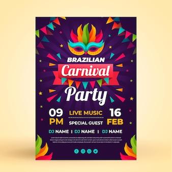 Modèle de flyer plat carnaval brésilien