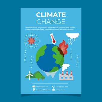 Modèle de flyer plat sur le changement climatique