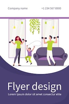 Modèle de flyer plat de formation de famille heureuse ensemble