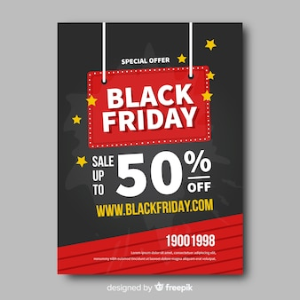 Modèle de flyer plat noir vendredi