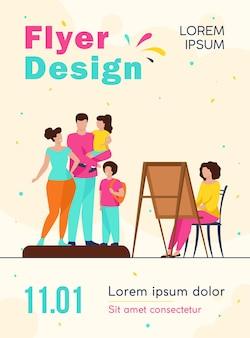 Modèle de flyer de portrait de famille de peinture d'artiste