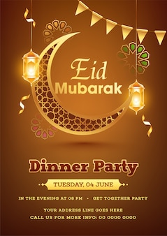 Modèle de flyer ou poster pour le dîner jashn-e-eid. aïd al-fitr moubarak