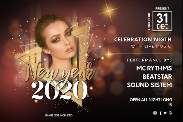 Modèle de flyer pour le réveillon du nouvel an élégant