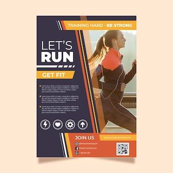 Modèle de flyer pour le sport avec photo