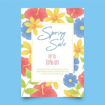 Modèle de flyer de printemps dessiné à la main avec des fleurs colorées
