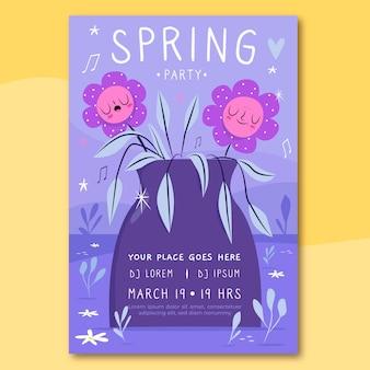 Modèle de flyer de printemps dessiné à la main avec des fleurs mignonnes