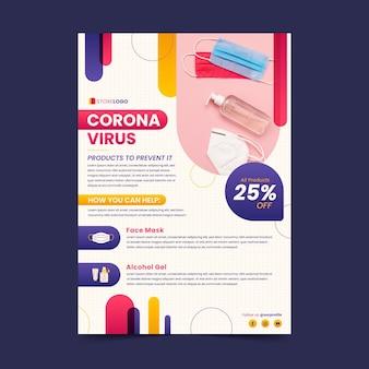 Modèle de flyer de produits médicaux de coronavirus plat avec photo