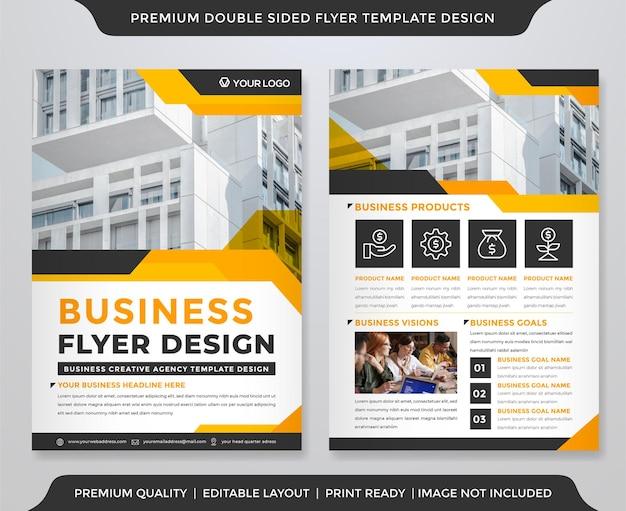 Modèle de flyer professionnel avec style premium de mise en page double côtés
